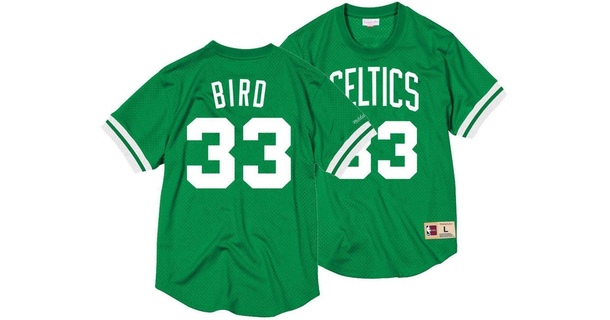 0dc1afb0b3e Mitchell & Ness Larry Bird Boston Celtics Name And Number Mesh Crewneck  Jersey in Green for Men - Lyst