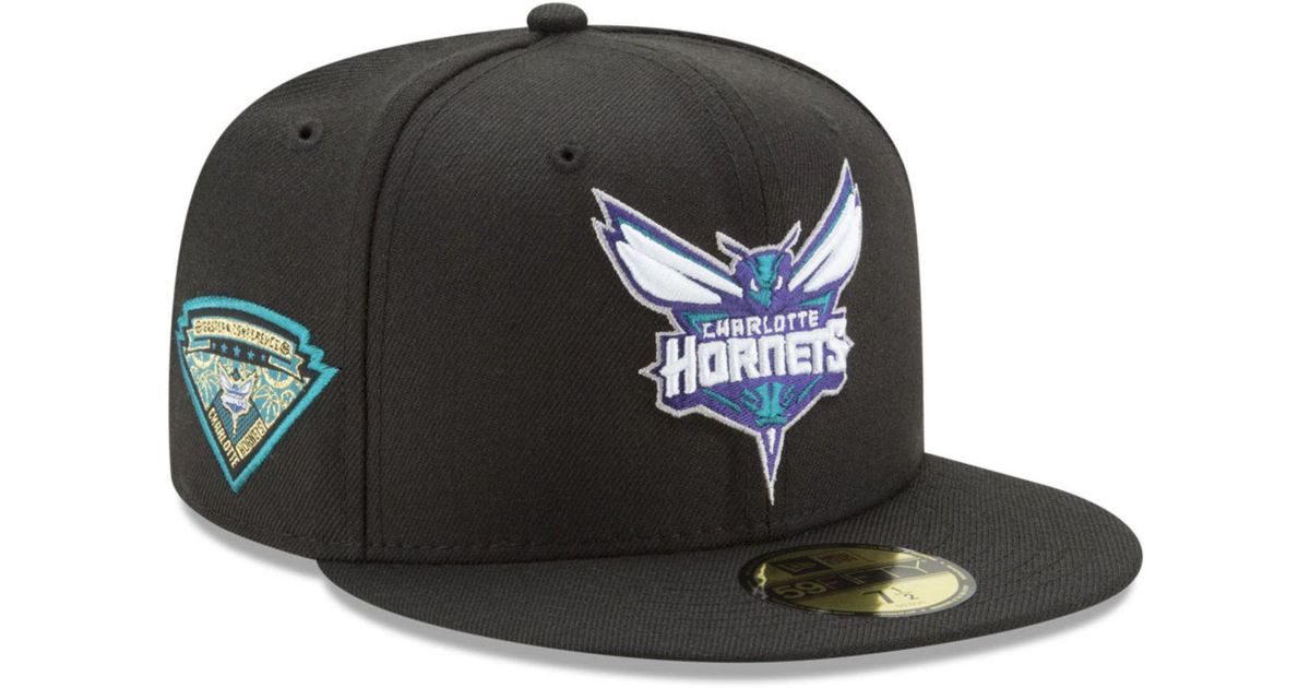 sale retailer 93824 f548b Lyst - Ktz Charlotte Hornets Metallic Diamond Patch 59fifty Fitted Cap in  Black for Men