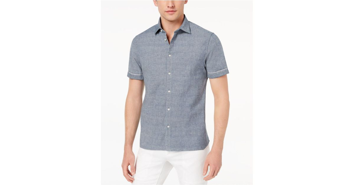 847014f6737 Lyst - Daniel Hechter Art Selvage Stretch Denim Shirt in Blue for Men