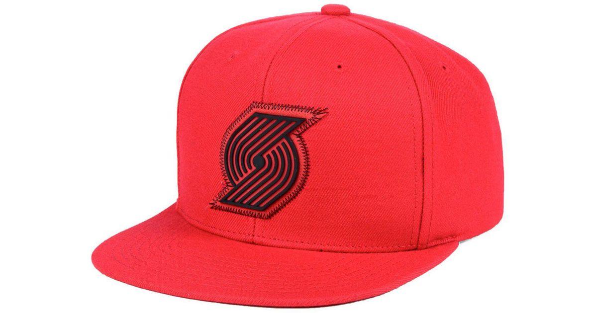 buy popular f97af 02c08 Lyst - Mitchell   Ness Portland Trail Blazers Zig Zag Snapback Cap in Red  for Men