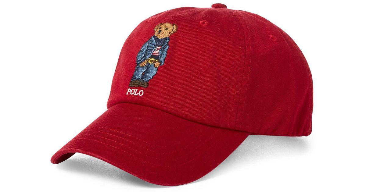 6048b4c7 Polo Ralph Lauren Jean Jacket Polo Bear Cap in Red for Men - Lyst