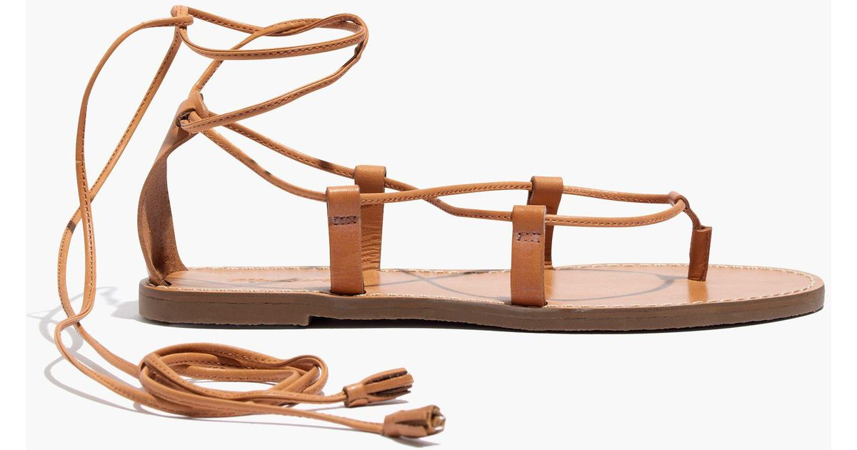 31fec3196f4e7b Madewell The Boardwalk Lace-up Sandal in Brown - Lyst