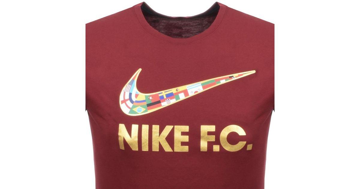 32facb17d281 Lyst - Nike Fc Flag Swoosh Logo T Shirt Burgundy in Red for Men