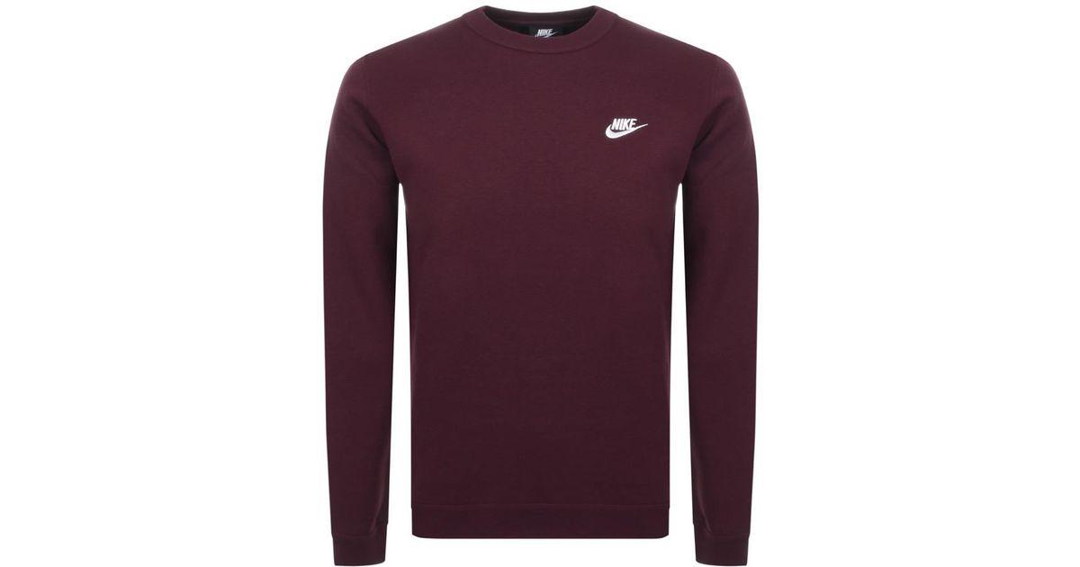 62168f56f1b9 Lyst - Nike Crew Neck Club Sweatshirt Burgundy in Purple for Men