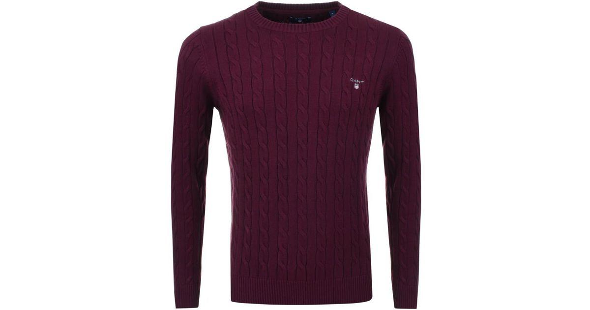 Lyst Gant Cable Knit Jumper Burgundy In Purple For Men