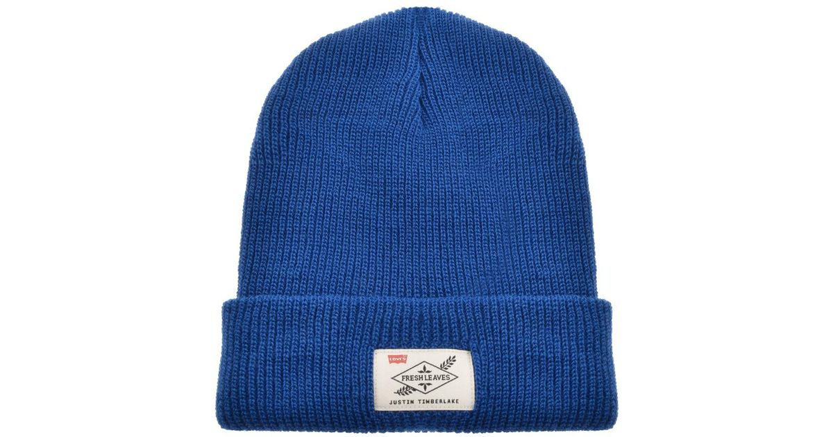 Lyst - Levi s X Justin Timberlake Logo Beanie Hat Blue in Blue for Men 8eee76df433