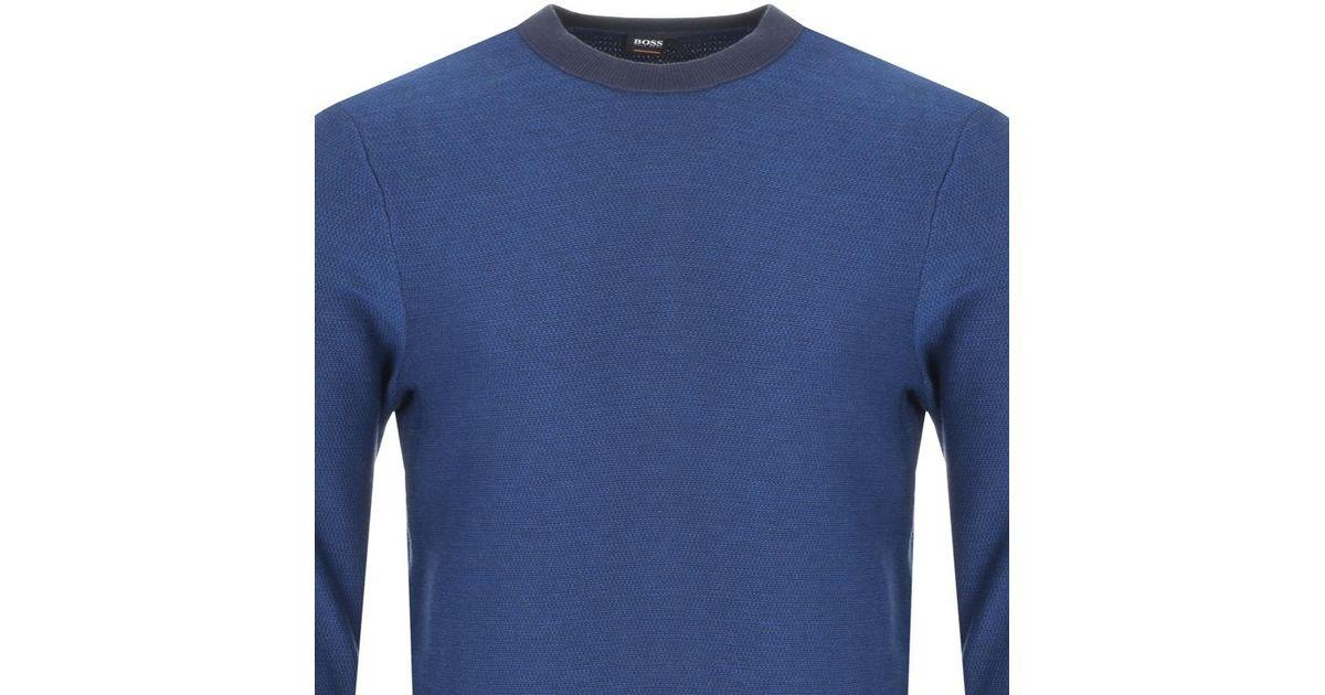 f1ea028d BOSS by Hugo Boss Boss Orange Akanice Knit Jumper Blue in Blue for Men -  Lyst
