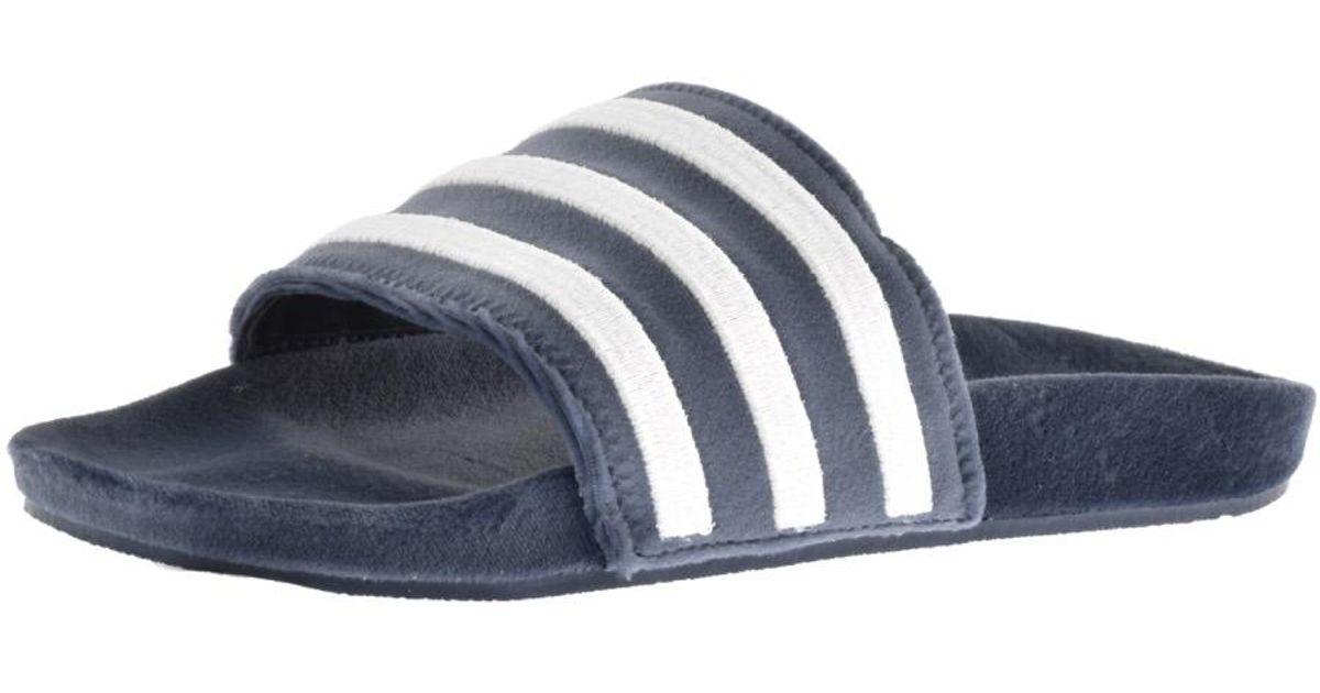 c53012ad8b5fdc Lyst - adidas Originals Adilette Velvet Flip Flops Blue in Blue for Men