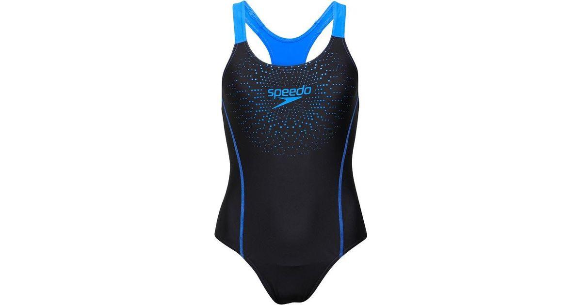 ac0e7b21587 Speedo Gala Logo Medalist One Piece Swimsuit Black/blue in Black - Lyst