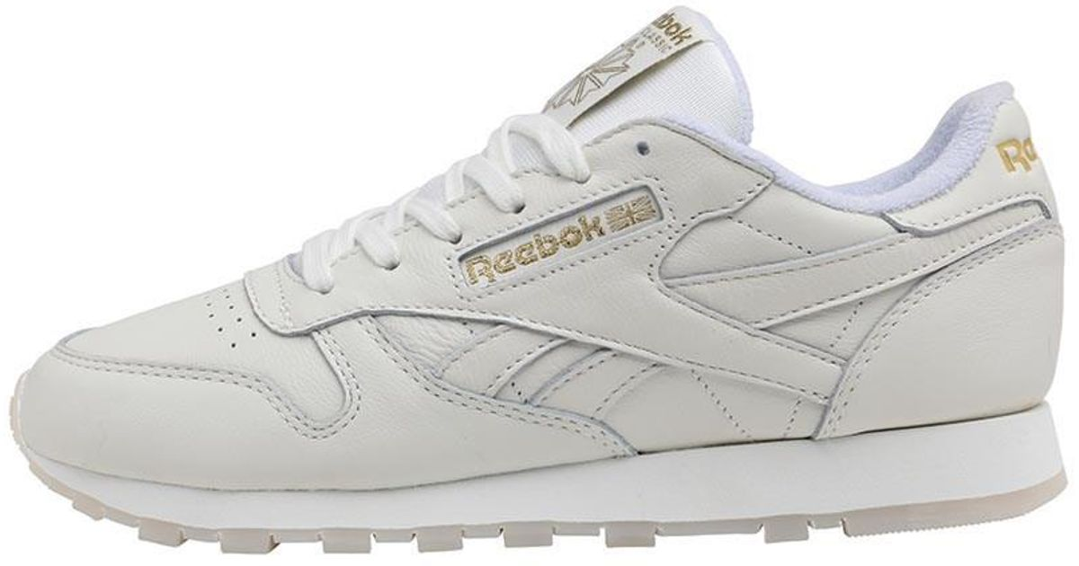 Reebok Leather Gm Trainers Chalk lucid Lilac gold Metallic in Metallic -  Lyst e606ab8f22e9