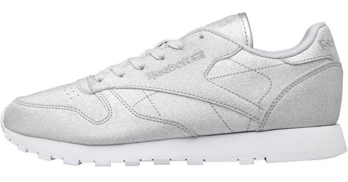 Reebok Classic Leather Syn Trainers Silver Metallic snow Grey white in  Metallic - Lyst 3b66ed21b