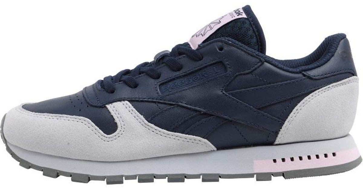 2f0d03afa7c Reebok Classic Leather Gn Trainers Collegiate Navy cloud Grey alloy in Blue  - Lyst