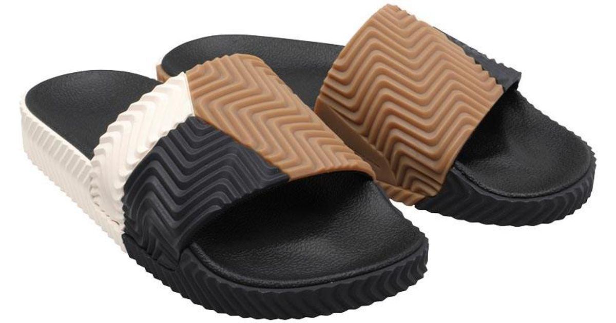 3e5824cad adidas Originals X Alexander Wang Adilette Sandals Core Black/chalk  White/core Black in Black - Lyst