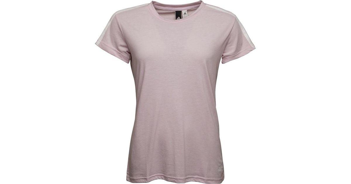 Adidas Essentials 3 Stripes Slim T-shirt Aero Pink white in Pink - Lyst ed25614ff4cf