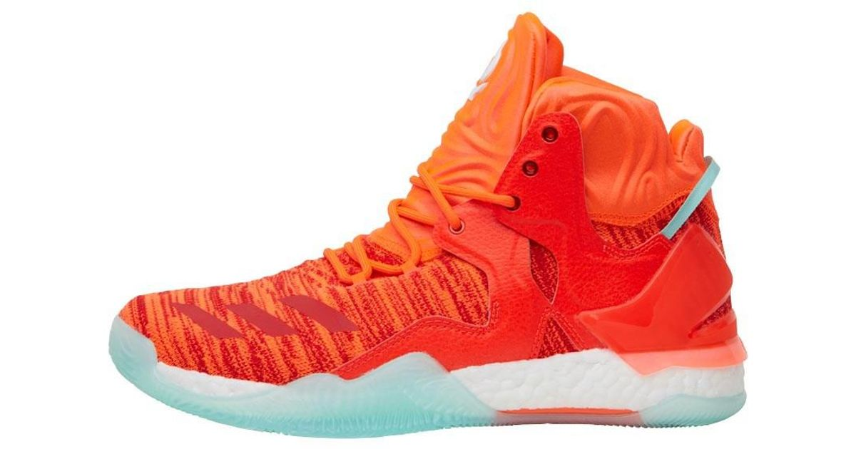 best website e1986 35a4f Adidas Derrick Rose 7 Primeknit Basketball Trainers Solar Redwhiteice in  Red for Men - Lyst