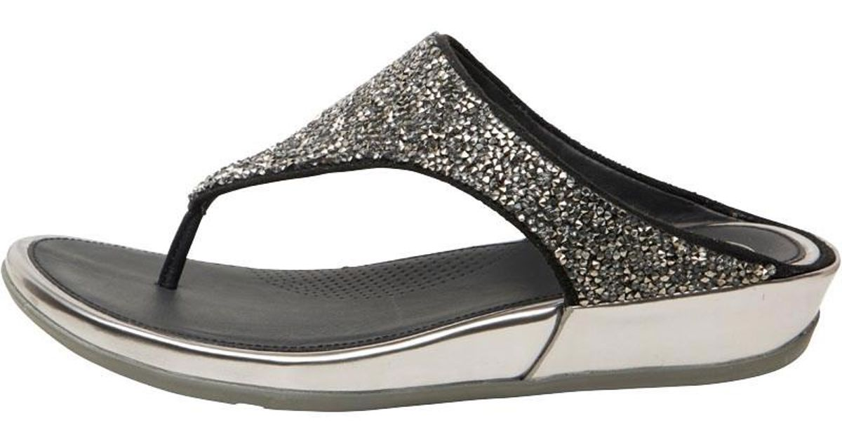 e3d9d9ef33c86 Fitflop Banda Crystal Toe Post Sandals Pewter in Metallic - Lyst