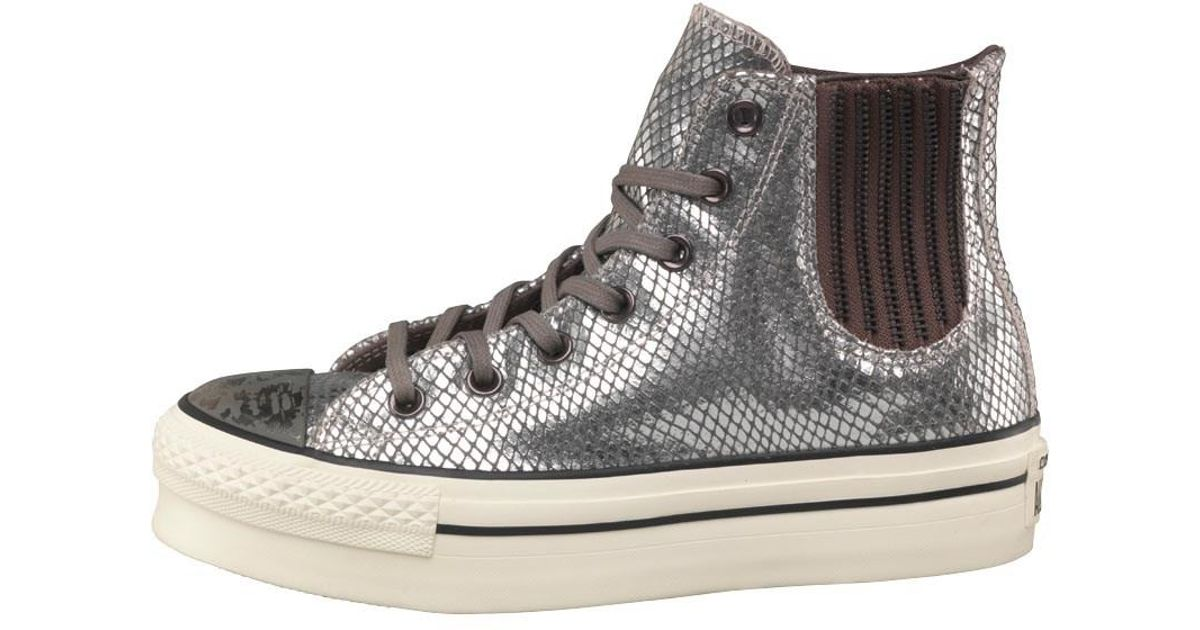 908db46ac9c6 Converse Ct All Star Hi Platform Snakeskin Chelsea Trainers Metallic white  in Metallic - Lyst