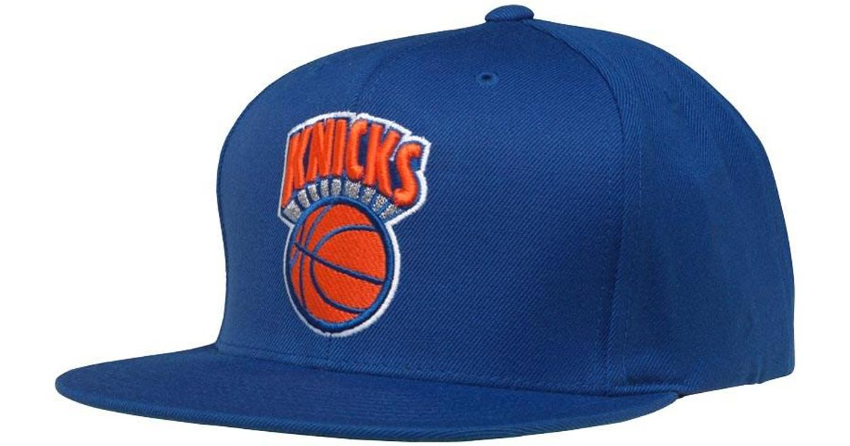 f968e564ee387 Mitchell   Ness New York Knicks Wool Solid Logo Snapback Cap Royal in Blue  for Men - Lyst