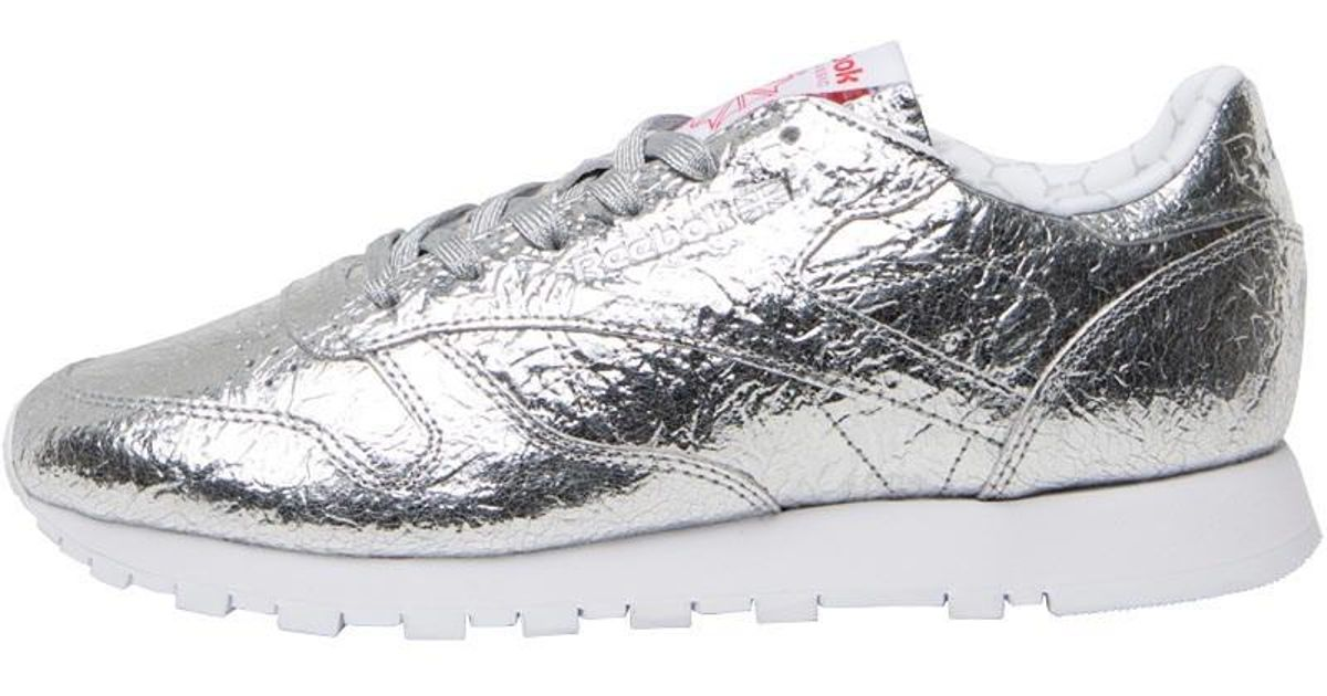 Reebok Leather Hd Trainers Silver Met snowy Grey primal Red white in  Metallic - Lyst 3e658ffe64a5a