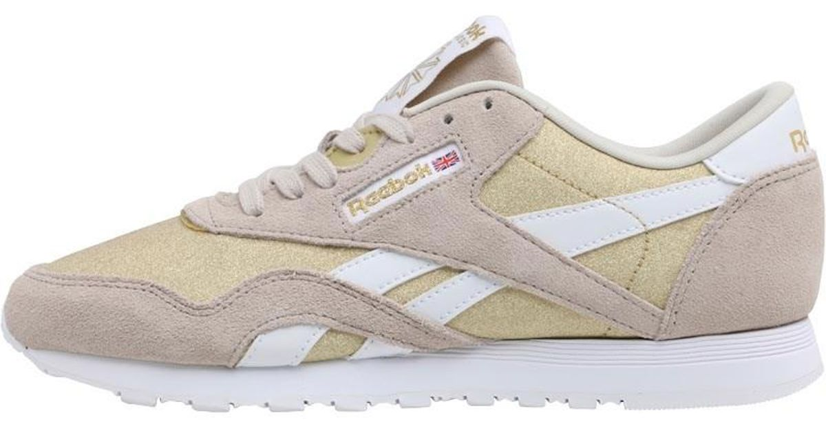 3ad08aab939 Reebok Classic Nylon Gl Trainers Stucco gold Met white in Metallic - Lyst