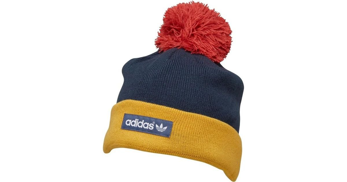 af78e9ec57005 adidas Originals Woven Logo Pom-pom Beanie Faded Ink core Gold raw Red in  Blue for Men - Lyst