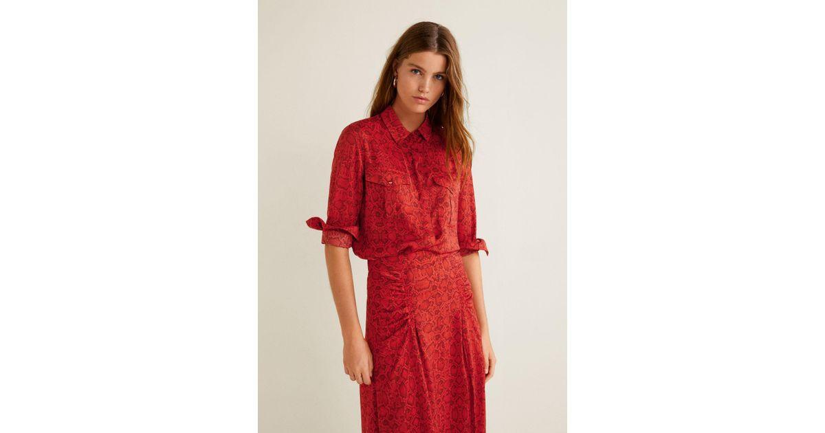 9ea6fbaa9a7162 Mango Snake Print Shirt in Red - Lyst