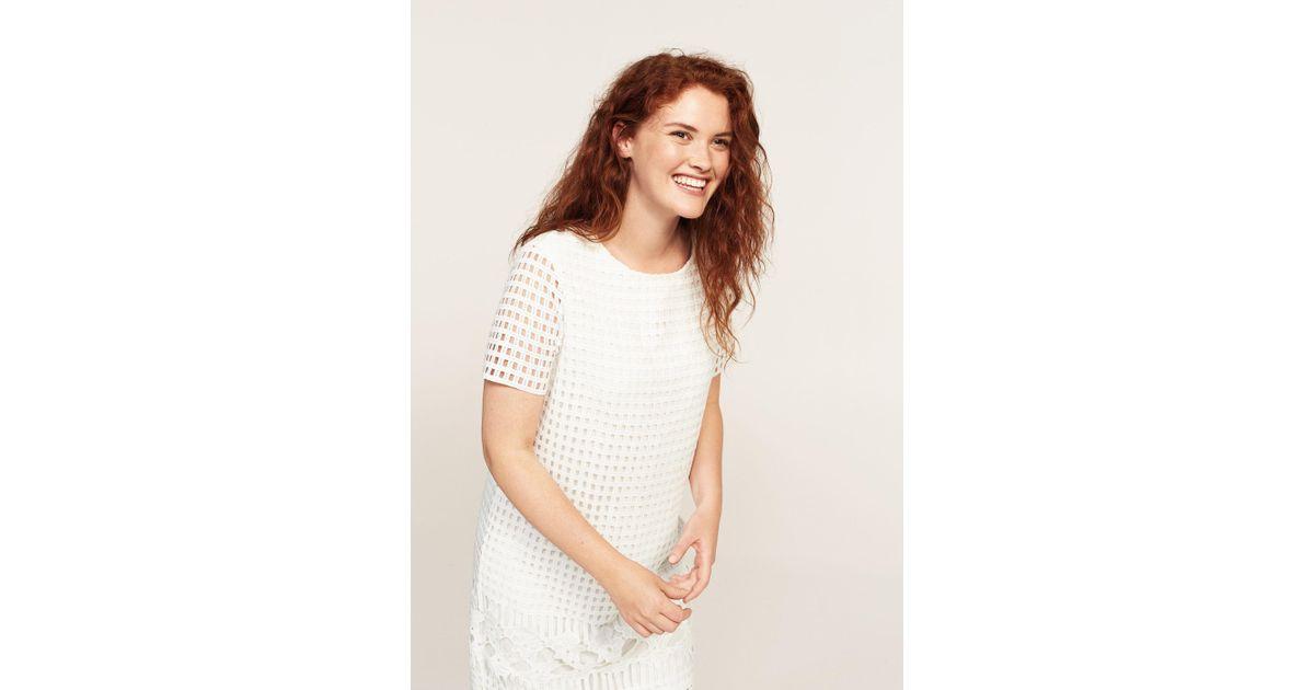 f2c43856a0ba Violeta by Mango Open-work Dress in White - Lyst