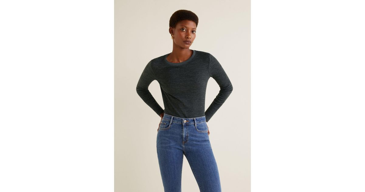 Mango - Gray Ribbed Wool-blend T-shirt - Lyst