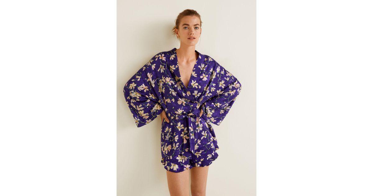 seleccione original 100% autenticado nueva lanzamiento Mango Purple Floral Print Kimono