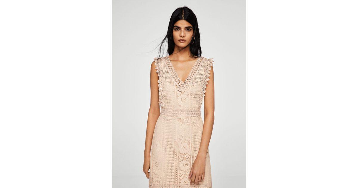 Lyst mango blond lace appliqué dress in natural