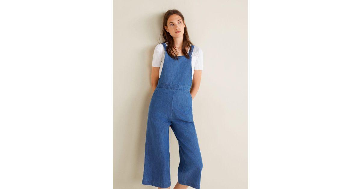 9fa7d2f491a Mango Medium Denim Jumpsuit in Blue - Lyst