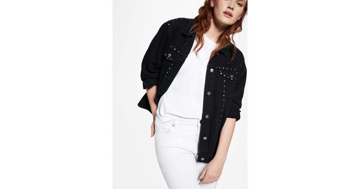 bfe4ff9512a0d7 Violeta by Mango Studded Denim Jacket in Black - Lyst