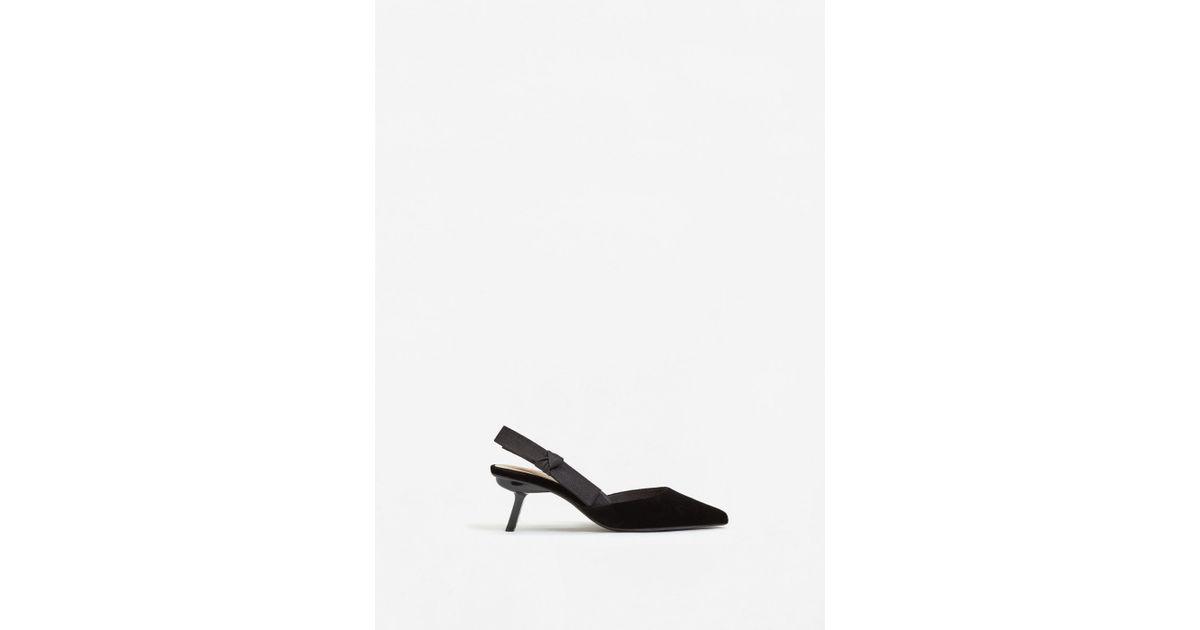 0d1ff1cf66d Mango Velvet Slingback Shoes in Black - Lyst