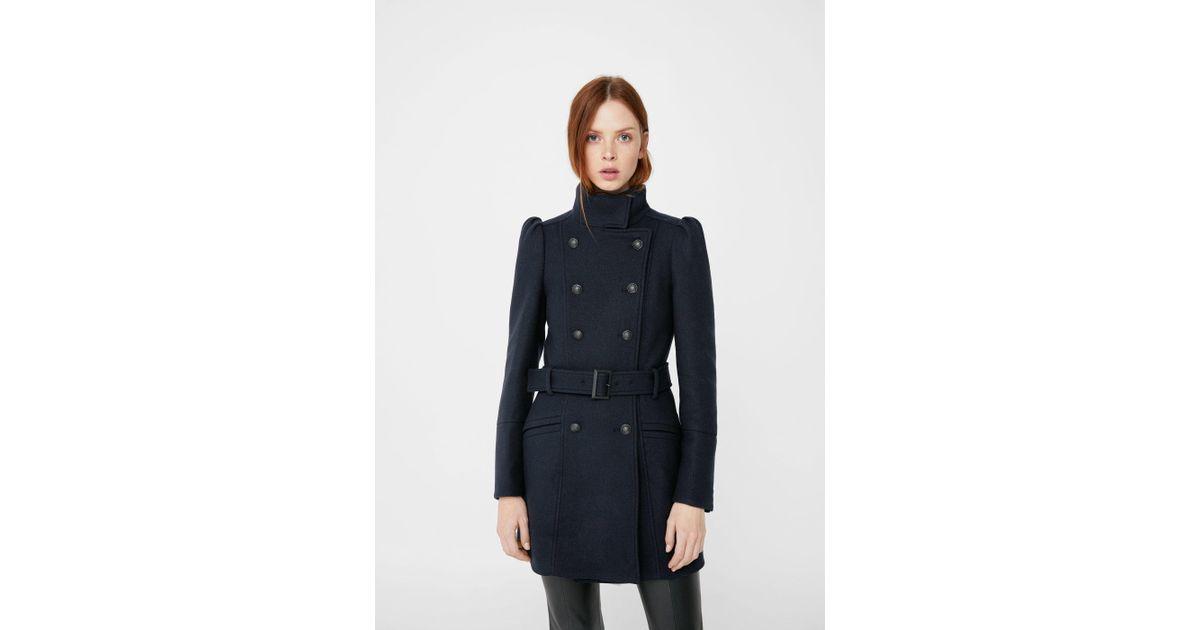 54beefd51 Lyst - Mango Puffed-shoulder Wool Coat in Blue