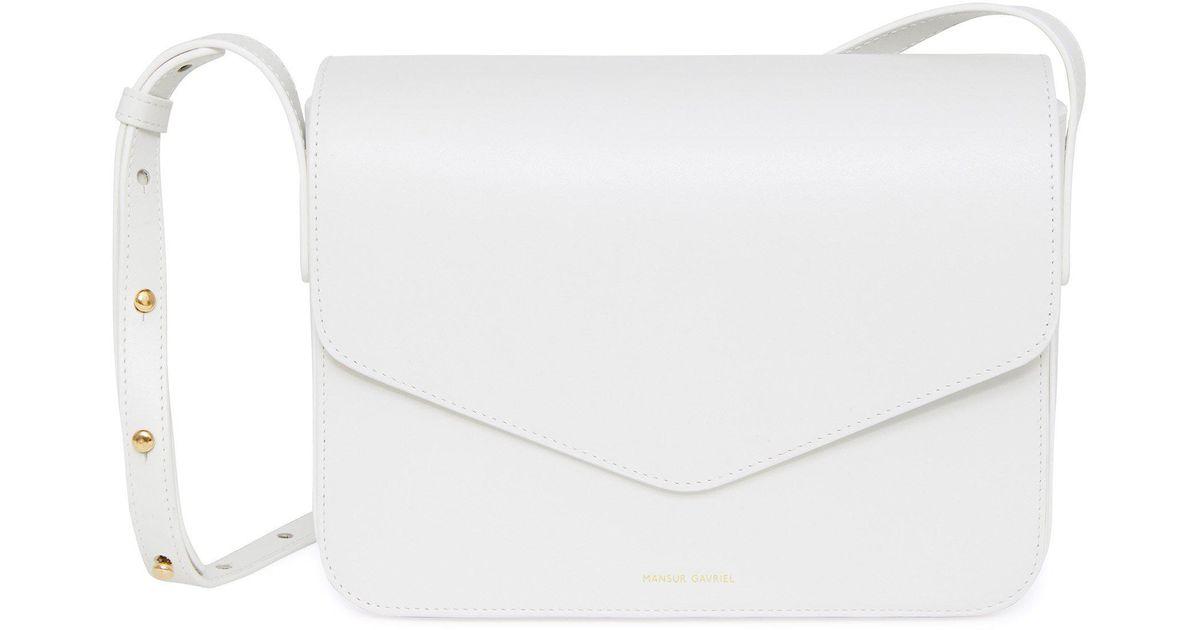 6a667c1db23e Lyst - Mansur Gavriel Calf Envelope Crossbody - White in White