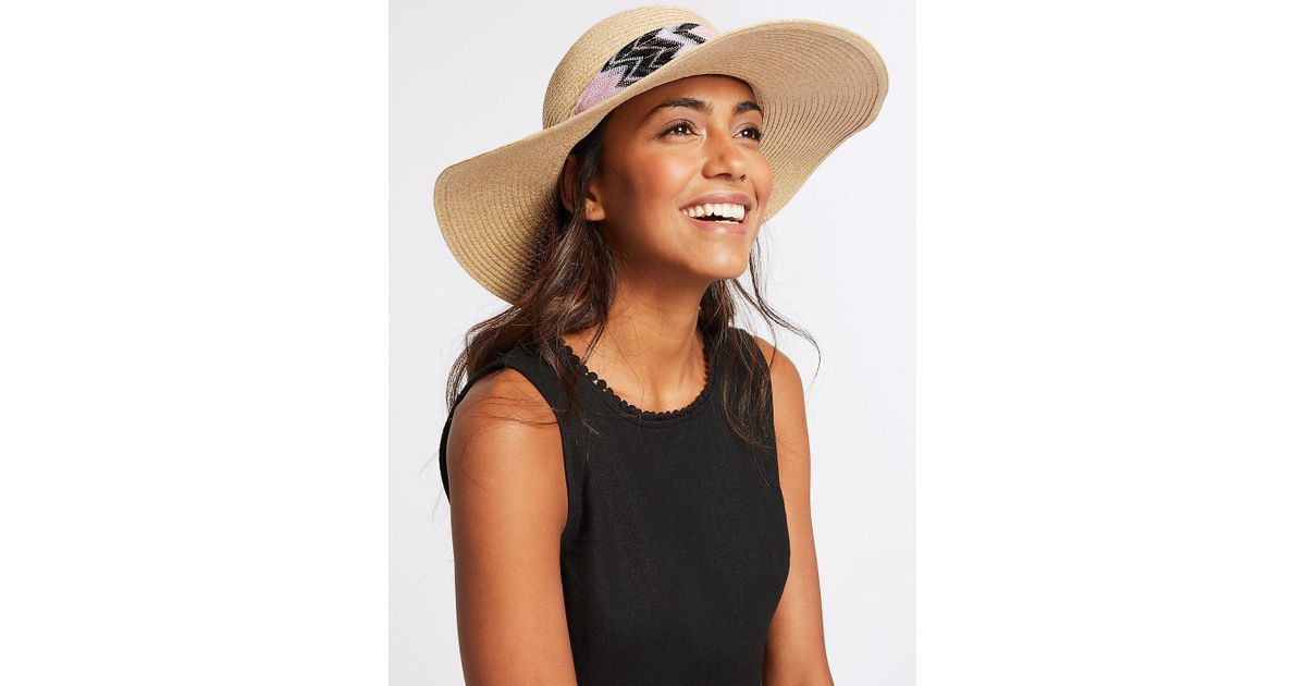 3682b8bf Marks & Spencer Bow Floppy Hat in Natural - Lyst