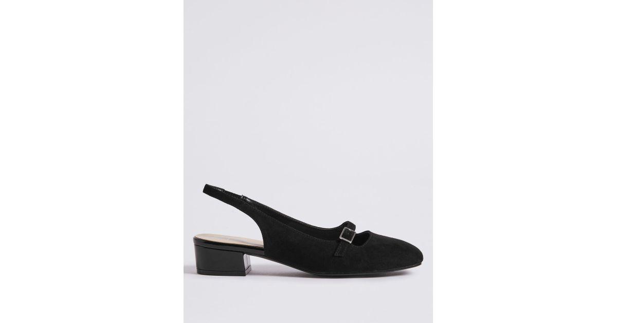 c9bdefe218e Marks & Spencer Block Heel Slingback Court Shoes in Black - Lyst