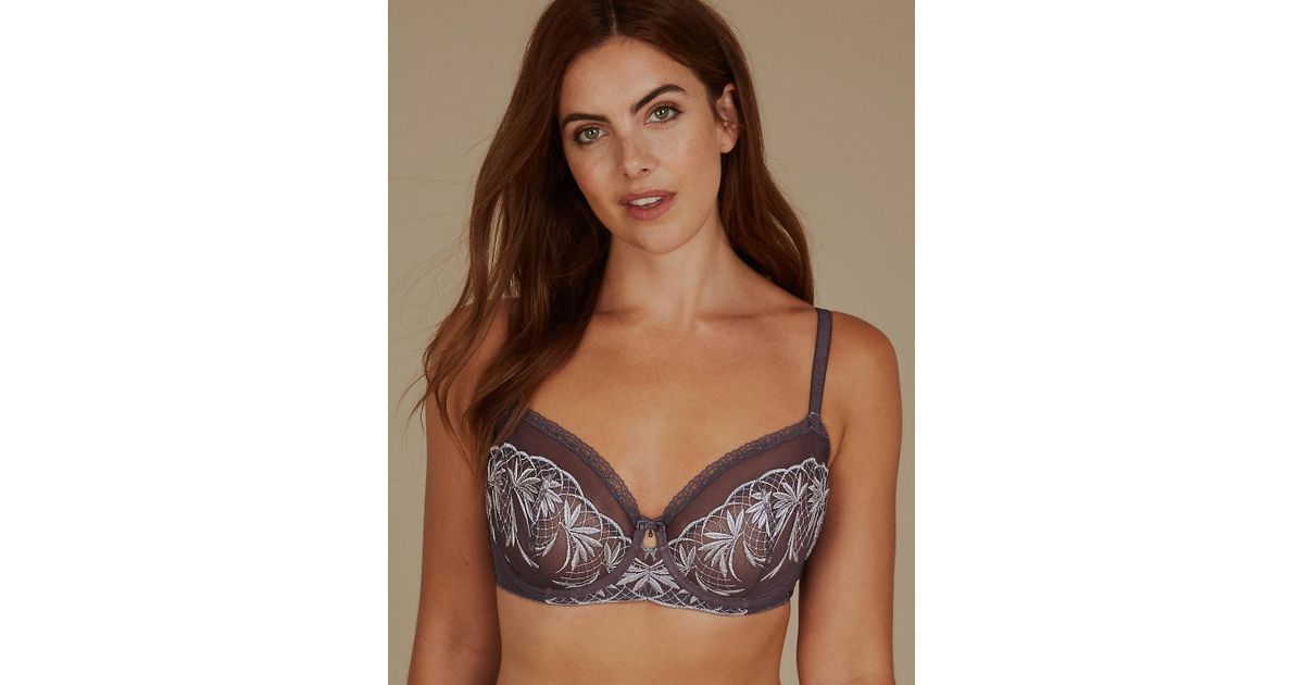 2904cc8bbd188 Lyst - Marks   Spencer Embroidered Non-padded Balcony Bra A-dd in Gray