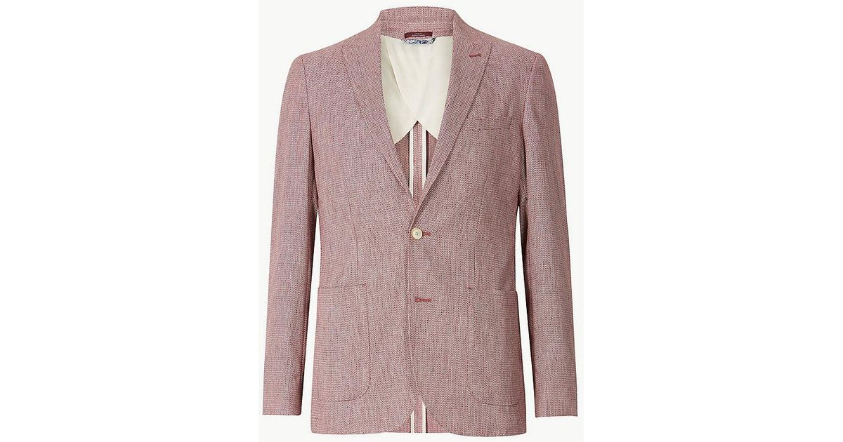 2fd8fa1b310d2 Lyst - Marks & Spencer Linen Rich Textured Tailored Fit Jacket for Men