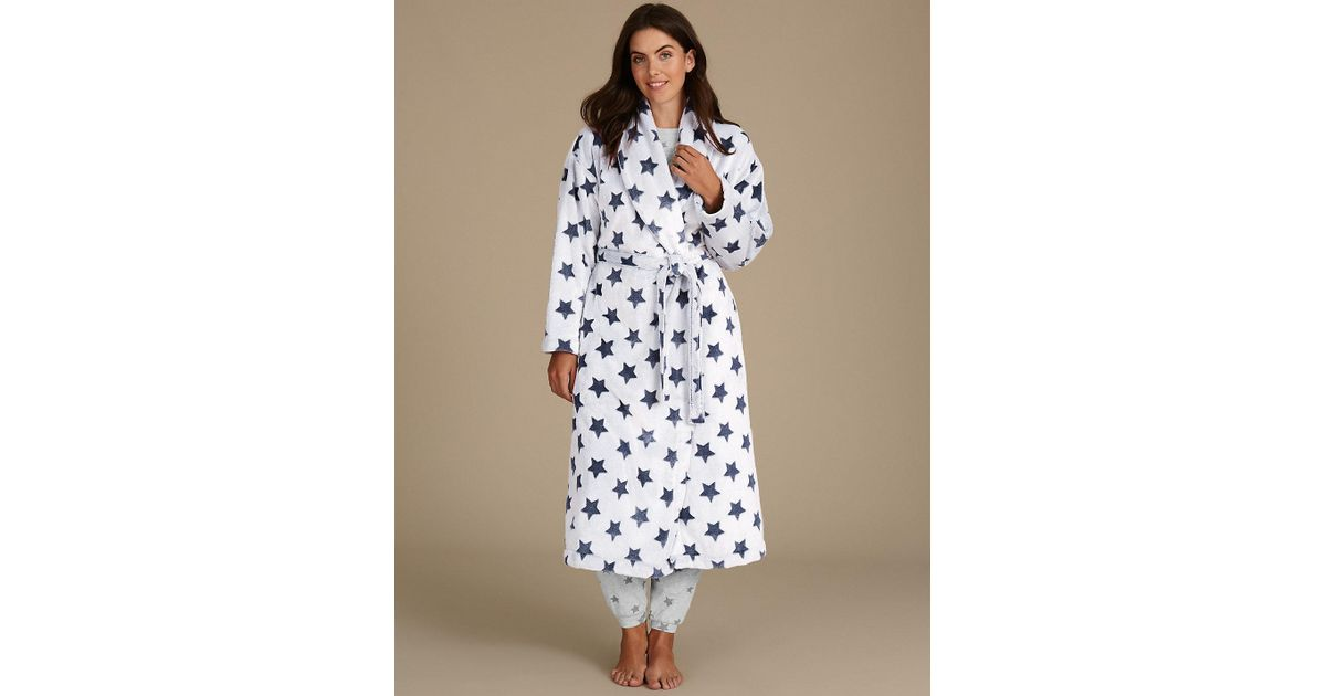 Lyst - Marks & Spencer Shimmersofttm Star Print Dressing Gown in Blue