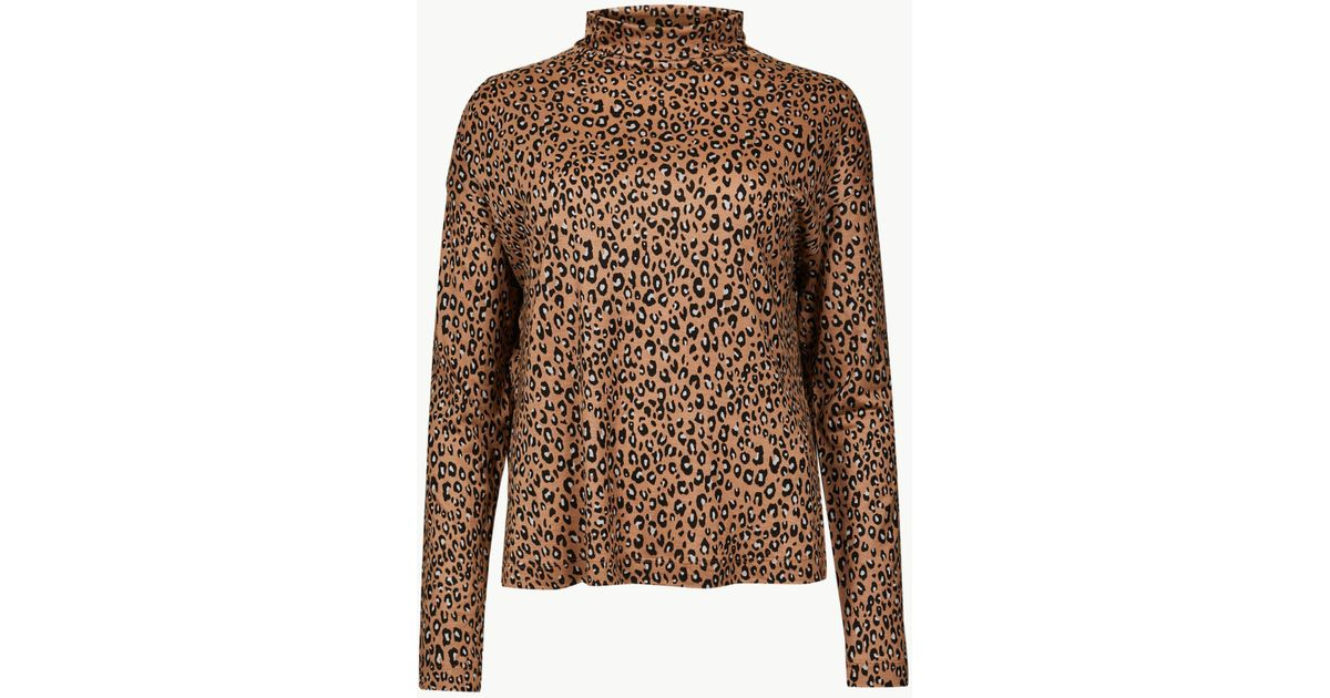 abd415425587b6 Marks & Spencer Animal Print Funnel Neck Long Sleeve Top in Brown - Lyst
