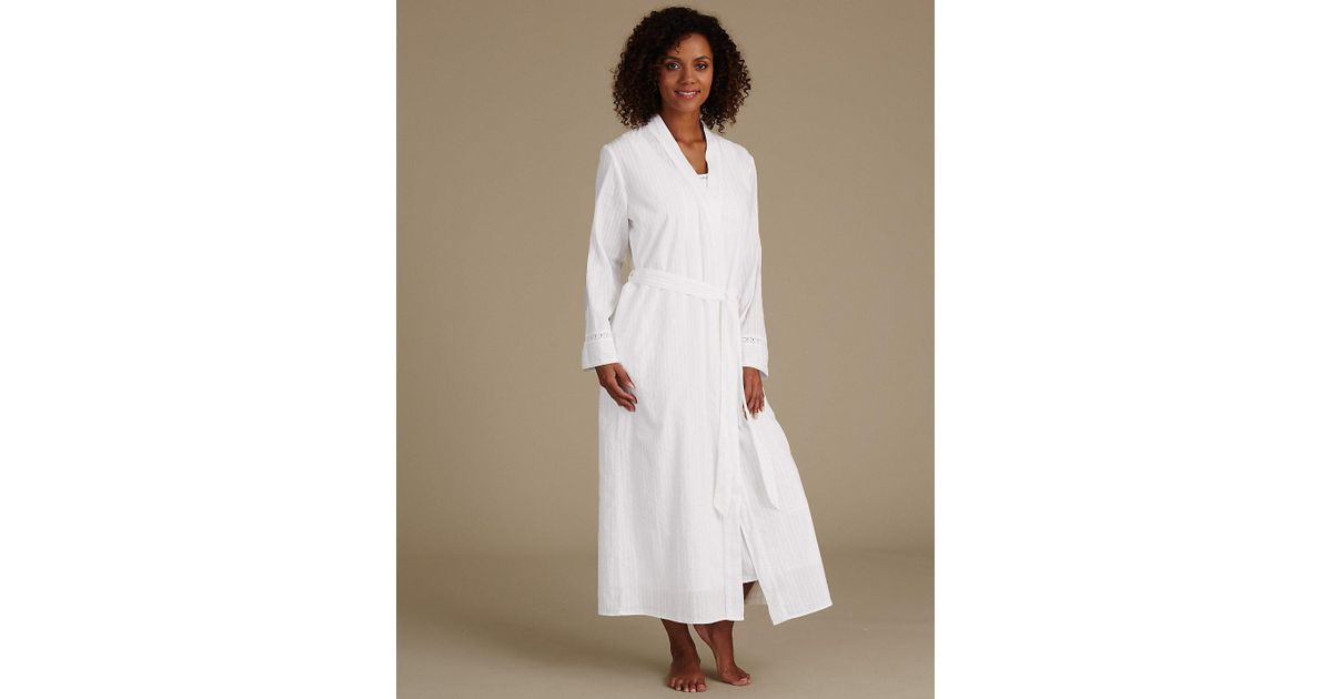 Lyst - Marks & Spencer Pure Cotton Embroidered Dressing Gown in White