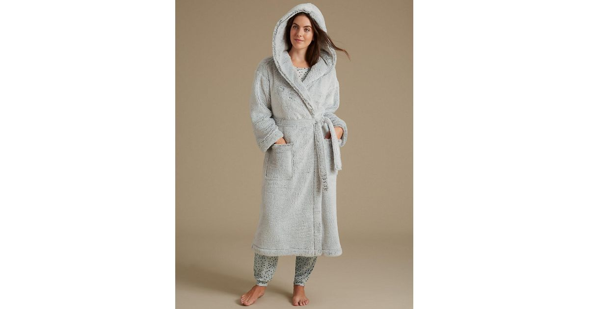 Lyst - Marks & Spencer Shimmer Hooded Dressing Gown in Gray