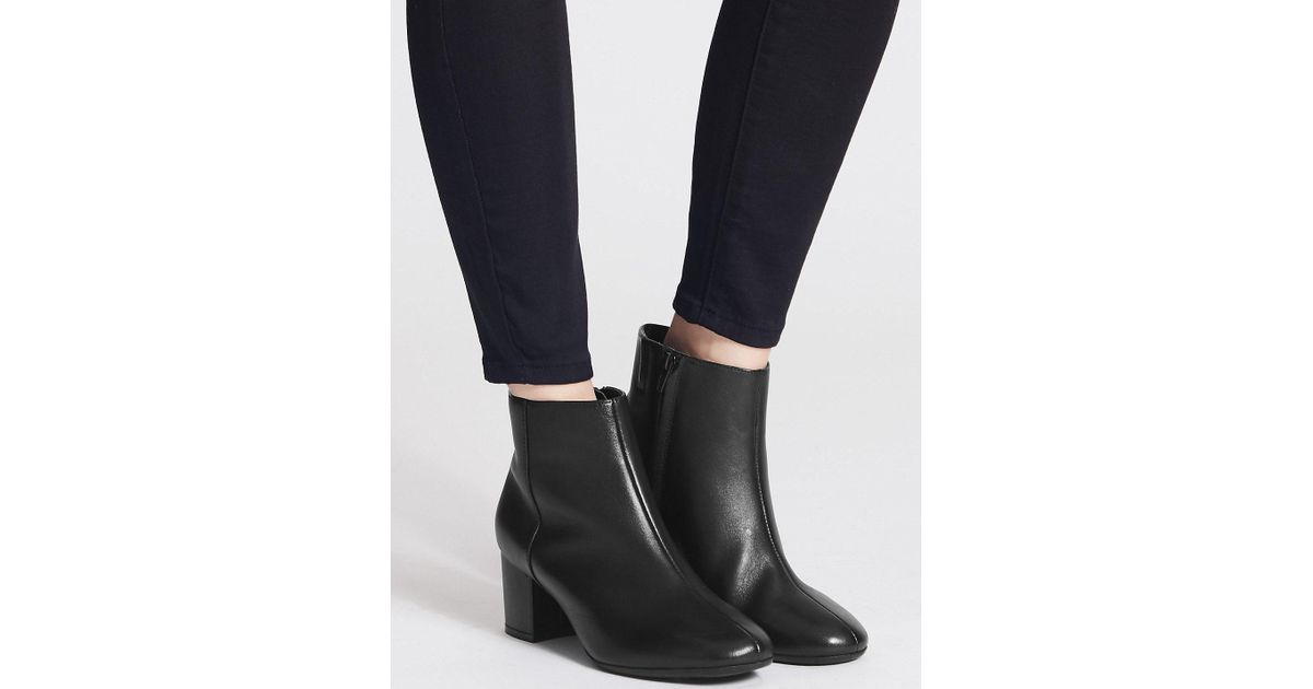 557f394be51f Lyst - Marks   Spencer Wide Fit Leather Block Heel Ankle Boots in Black