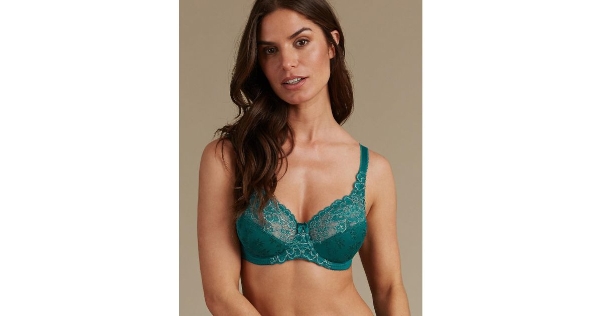 66746e488baa1 Marks   Spencer Floral Jacquard Lace Non-padded Full Cup Bra A-dd - Lyst