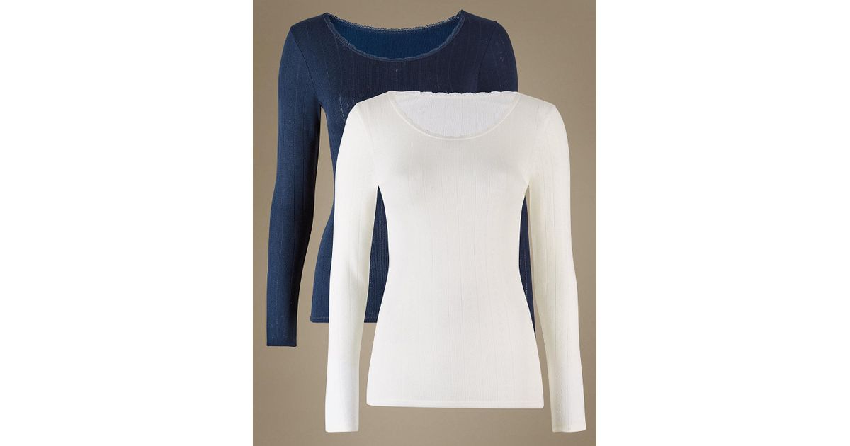 90c136df2f91a Marks   Spencer 2 Pack Thermal Long Sleeve Pointelle Tops in Blue - Lyst