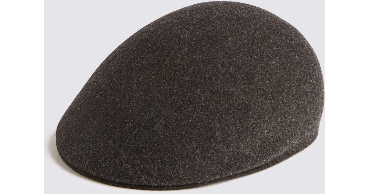 5e39fc937 Marks & Spencer - Gray Pure Wool Flat Cap With Stormweartm for Men - Lyst