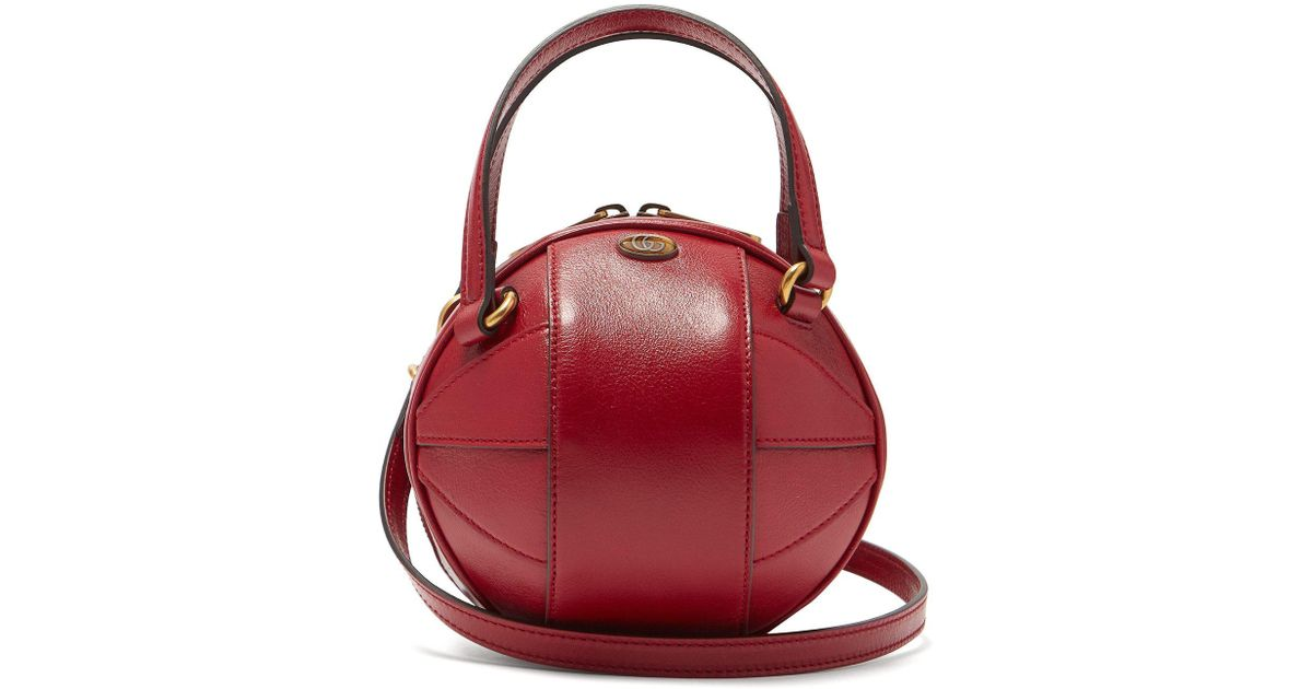 70b5924bca6f Gucci Tifosa Basketball Grained Leather Shoulder Bag in Red - Lyst