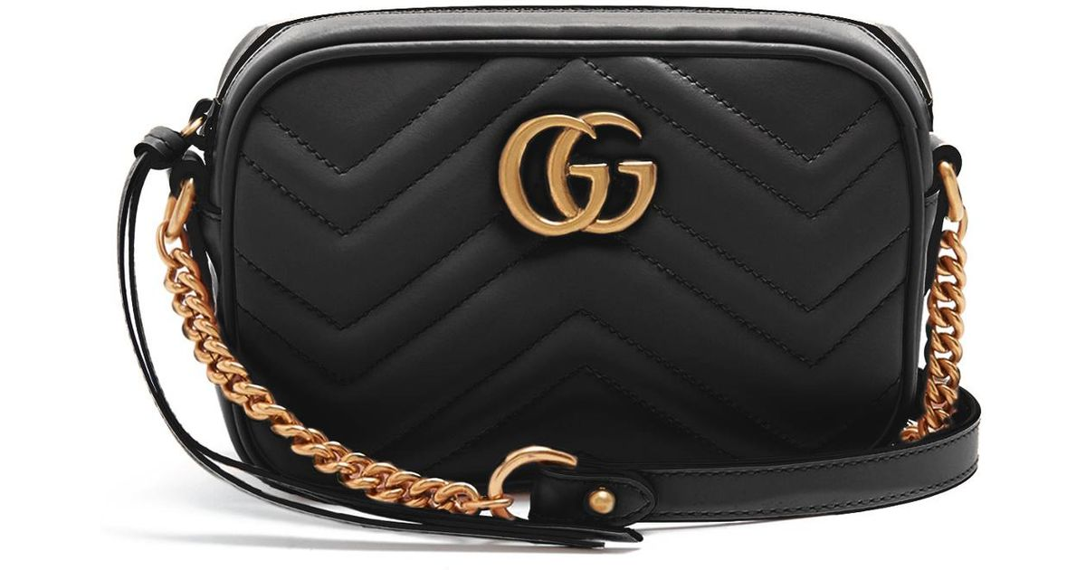 76208b34e361 Gucci Marmont Gg Mini Quilted Black Leather Cross Body Bag ...