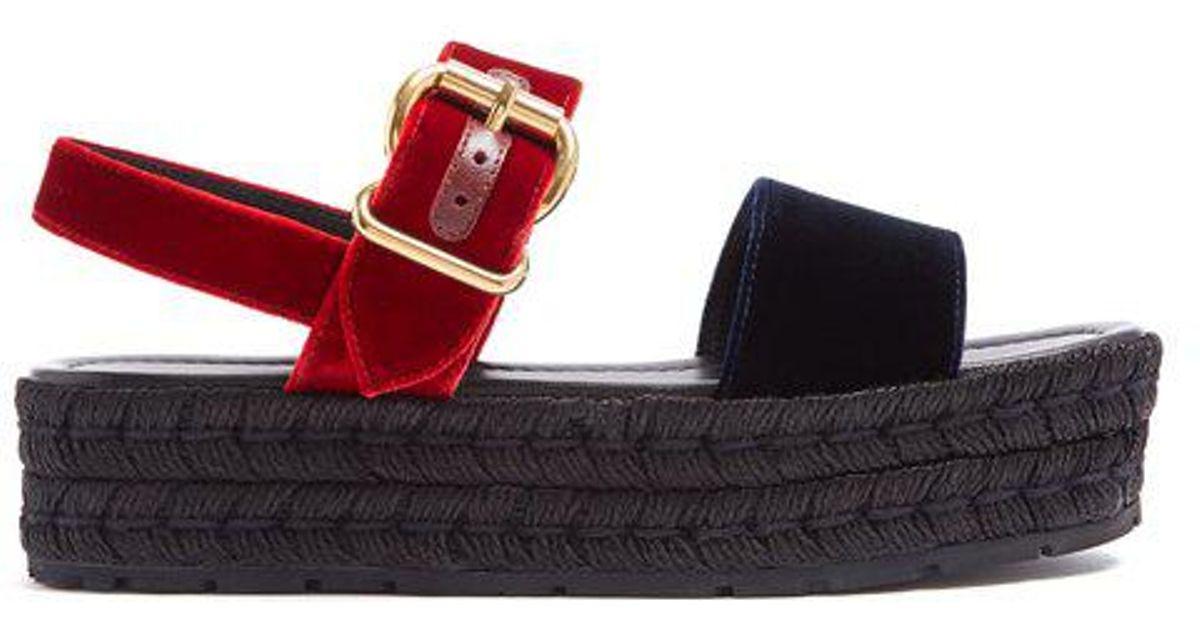 87fca52f292 Lyst - Prada Bi-colour Double-strap Velvet Flatform Sandals in Red